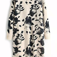 Abstract Print Beige Sweater Dress
