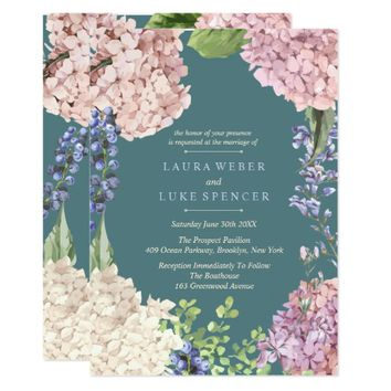 Classic Pastel Hydrangea Wedding Invitations
