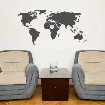 World Map Wall Decal Clock