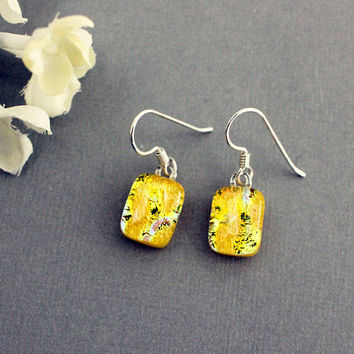 Sterling Silver Dangle Earrings - Unique Jewelry - Yellow Earrings - Unique Earrings For Women - Unique Dangle Earrings - Yellow Jewelry