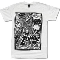 """ROB ZOMBIE """"CBGB"""" WHITE T-SHIRT NEW OFFICIAL ADULT WHITE BAND COMIC METAL Novelty Cool Tops Men Short Sleeve T Shirt top tee"""