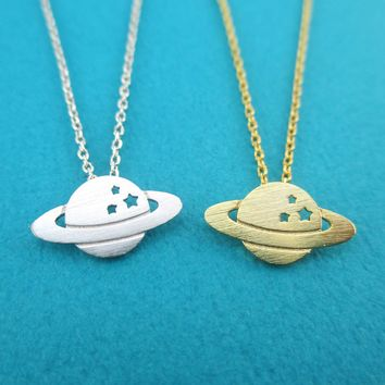 Planet Saturn Shaped NASA Cosmos Space Galaxy Themed Pendant Necklace