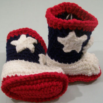 Baby Cowboy Boots--Red White and Navy-Crochet-Baby Shower gift--Baby Shower Gift-#143