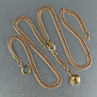 Rolled Rose Gold Antique Watch Chain Necklace 1890s