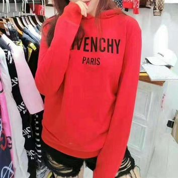 DCCKH3L Givenchy' Women Fashion Casual Letter Print Long Sleeve Hooded Sweater Tops