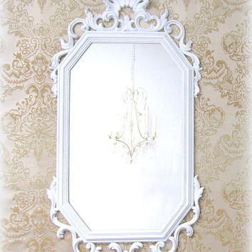"HOLLYWOOD REGENCY MIRROR 31""x15"" Wall Mirror Vintage Syroco Framed Mirror Neoclassic Shabby Chic Unique White Framed Mirror"