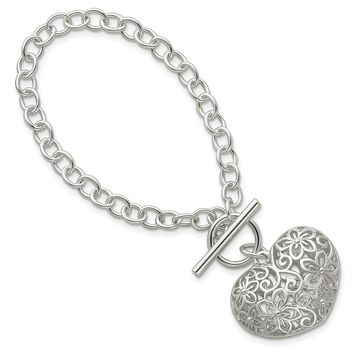 Sterling Silver 7.75 Inch Puffed Heart Toggle Bracelet