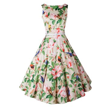 Vintage 50s 60s Audrey Hepburn Rockabilly Pinup Party Swing Dress Beach Floral And Bird Printed Retro Femininos