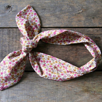 pink floral headscarf  / pink yellow orange by SassyStitchesbyLori