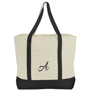 DALIX Personalized Shopping Tote Bag Monogram Black Initial Zippered Letter A-Z