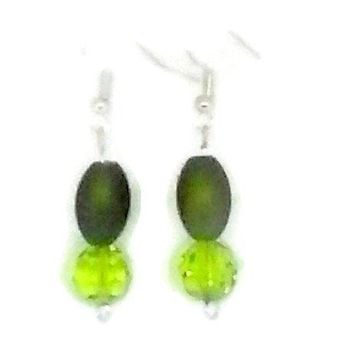 Green Barrel and Faceted Round Beaded Earrings
