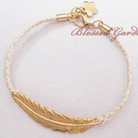 bracelet,feather bracelet,white bracelet,love bracelet,golden plate, friendship gift,blessed garden