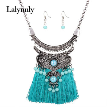 Vintage Fashionable Jewelry Sets Women Resin Pendant 4 Colors Tsssel Necklace Earrings Set Statement Chain Accessories N41331