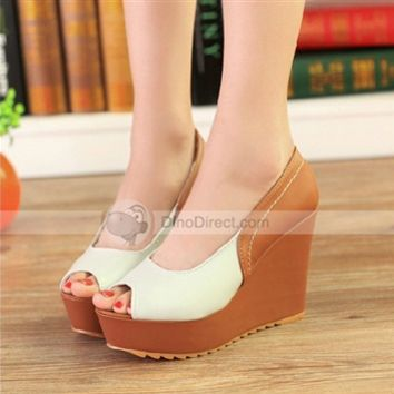 XDIAN Sexy Color Block Summer Peep Toe Spring/Summer Wedge High Heels - DinoDirect.com
