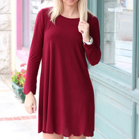 Long Sleeve Suedette Scalloped Dress {Wine}