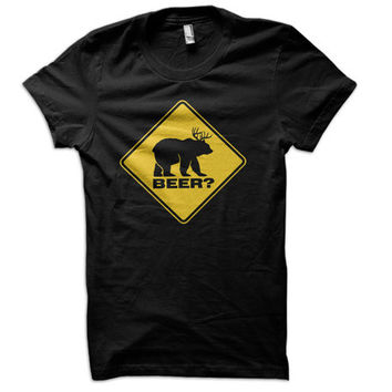 Bear Deer Beer Ladies T-Shirt - funny t shirt drinking tee country tshirt redneck usa college farming