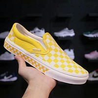 Vans Fashion Slip-On Old Skool Checkerboard Canvas Sneakers Sport Shoes Yellow I-A36H-MY