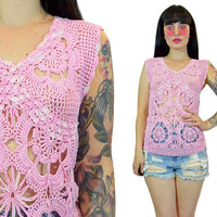 vintage 70s pale pastel pink crochet shirt 1970s hippie boho kawaii CUTE summer top knit macrame sheer top v neck sleeveless scalloped small