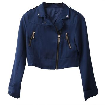 Dark Blue Crop Jacket