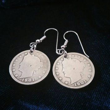 "Antique 1901 Liberty Head ""V"" Nickel Earrings with Sterling Silver Ear Wire - Handmade"