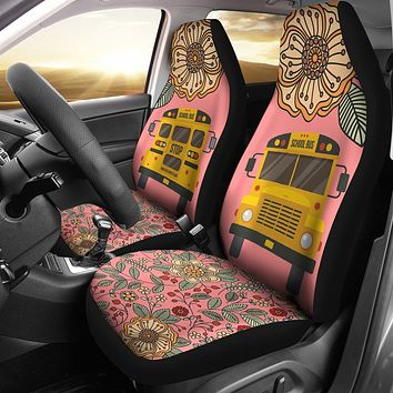 Floral School Bus Car Seat Covers