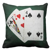 Blackjack 21 point - Queen, Seven, Four Throw Pillow