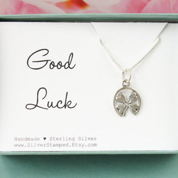 Lucky charm gift in a box, good luck sterling silver Shamrock in a horseshoe charm necklace,  graduation gift, boxed gift for graduate