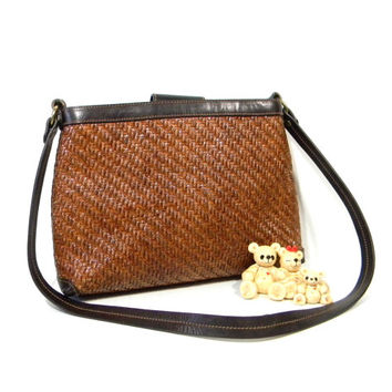Vintage Fossil Purse. Woven Straw Leather Handbag in Brown. Shoulder Bag. Fall Fashion. Back To School