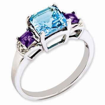 Sterling Silver London Blue Topaz, Amethyst & Diamond Ring