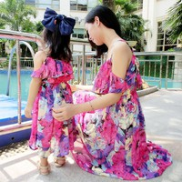 Mother Daughter Dresses Summer Short Sleeved Family Look Matching Clothes Chiffon Mom And Daughter Dress Family Clothing 2017