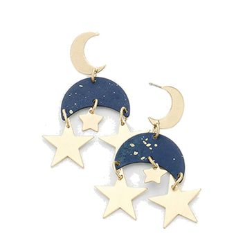 Galactic Moon and Star Earrings