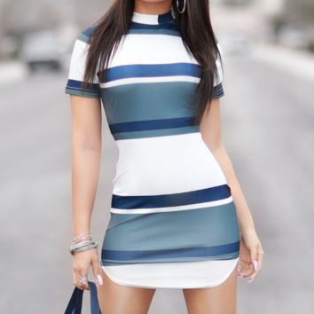 Fashion New Contrast Color Stripe Short Sleeve Dress Women