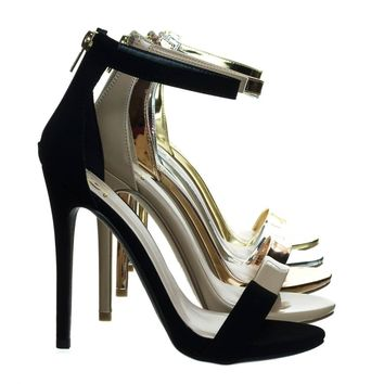Kismet Black Patent By Delicacy, High Heel Open Toe Stilettos, Women's Fashion Ankle S