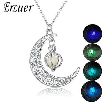 ERLUER 4 color night light Bead moon pumpkin Luminous pendant light stone Glow In The Dark necklace Halloween gift For men women