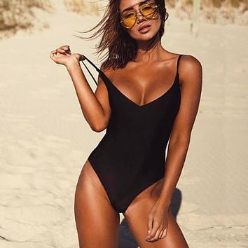 Female Solid Black Thong Backless One Piece Swimsuit