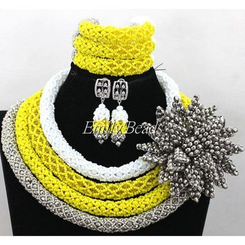 Nigerian Traditional Wedding African Beads Jewelry Set - Handmade - Free Shipping
