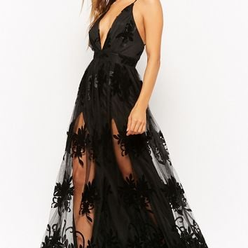 Flocked Velvet Gown