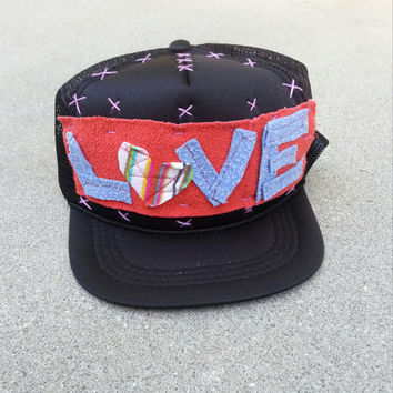 Hand Stitched Trucker Hat youth black Love