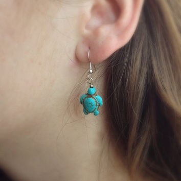 Turquoise Turtle Earrings, Boho Earrings, Sea Turtles Earrings, Dangle Earrings, bohemian Earrings, Charm Earrings, Gift Idea