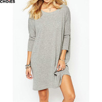 2016 Women Gray Backless Long Sleeve Round Neck Fall Shift Mini Loose Dress Spring Autumn Simple Style Casual Clothing