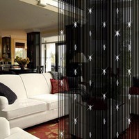 Sparkle Beaded String Door Window Curtain Divider Room Fly Screen Blind Tassel Black