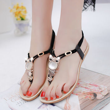 Women Sandals Ankle-Strap Flats Sandals Women Shoes SUmmer 2016 Sandale Femme Black