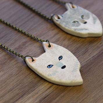 REVERSIBLE Wolf necklace- Earthenware ceramic bisque necklace