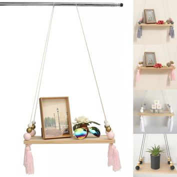 Fashion Wooden Swing Tassel Wall Hanging Pendant Ornament Baby Nursery Room Home Decor