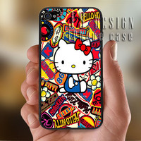 Hello Kitty Colorful - Photo Print for iPhone 4/4s Case or iPhone 5 Case - Black or White