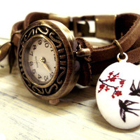 Cowhide bead watch wristwatch with working watch, pearl, enameled antique bird locket and little bronze swallow