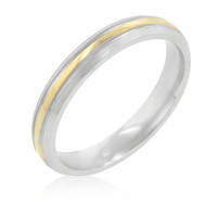 3 Mm Two-tone Finish Stainless Steel Wedding Band, size : 10