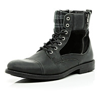 River Island MensBlack plaid panel military boots