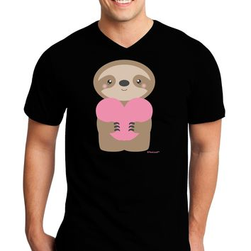 Cute Valentine Sloth Holding Heart Adult Dark V-Neck T-Shirt by TooLoud