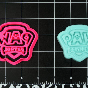 Paw Patrol Inspired Logo Cookie Cutter Stamp Set Pink BPA FREE